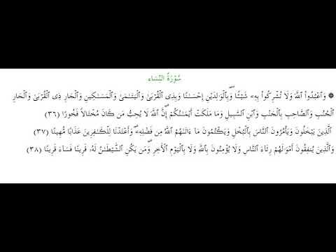SURAH AN-NISA #AYAT 36-38: 5th March 2020