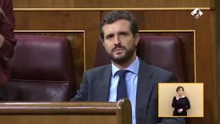 Pablo Casado alzando la voz en el Congreso para defender la Constitución.