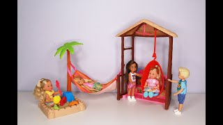 Barbie Chelsea Doll Tiki Hut Playset With Moldable Sand Unboxing | Toy Review