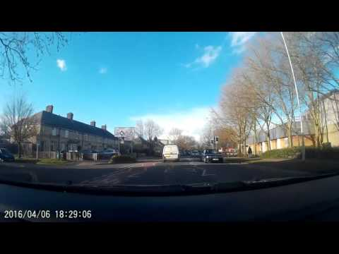 Roadsafety driving on phone FE10 KPV white Vauxhall van Cambridge 6apr16