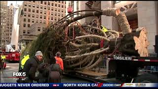 Christmas tree arrives in Rockefeller Center