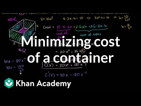 Optimization: cost of materials | Applications of derivatives | AP Calculus AB | Khan Academy