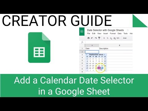 Add a Calendar Date Selector in a Google Sheet - YouTube