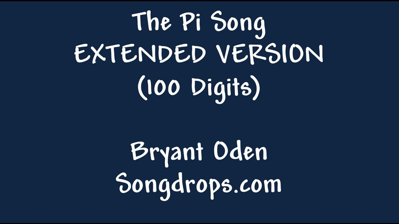 Pi Song Expert Level The Pi Song With 100 Digits YouTube