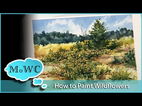 Painting A Patch Of Spring Wildflowers In Watercolor.