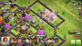 Clash of Clans, Using Queen healers&Valkyries and get a huge amount of resourses