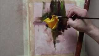 How to paint a yellow rose in oil