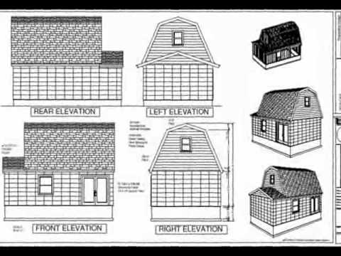 Pdf Barn Plans G455 Gambrel 16 X 20 Shed Plan Youtube
