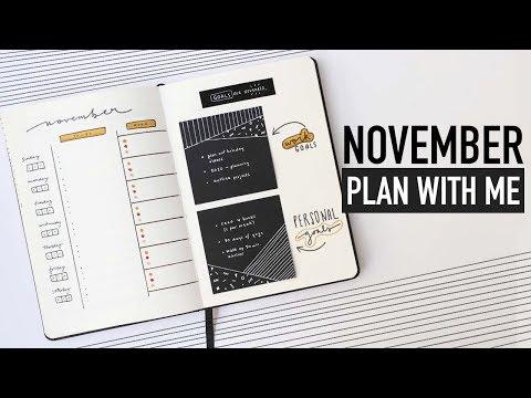 Bullet Journal NOVEMBER PLAN WITH ME 2019   goal setting + gratitude spreads