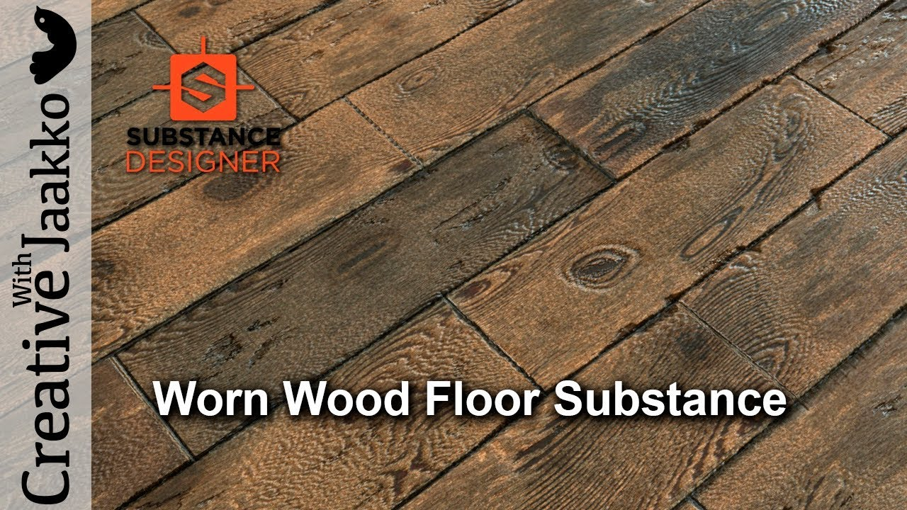 Worn wood floor material PBR in Substance Designer