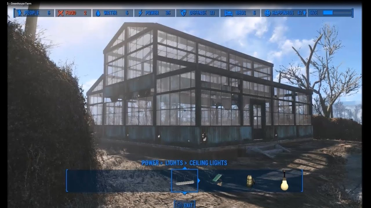 Fallout 4 Sanctuary Settlement 3 Greenhouse Farm Youtube