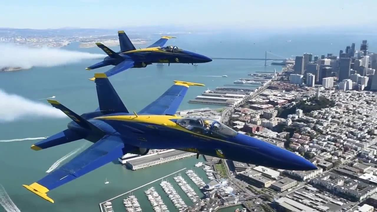 Blue Angels Smoke On over San Francisco - YouTube