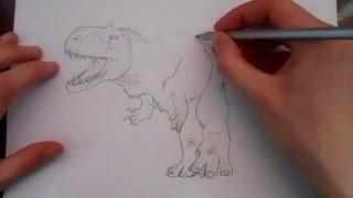 Видео как нарисовать динозавра