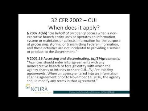 When is Controlled Unclassified Information (CUI) Applicable?