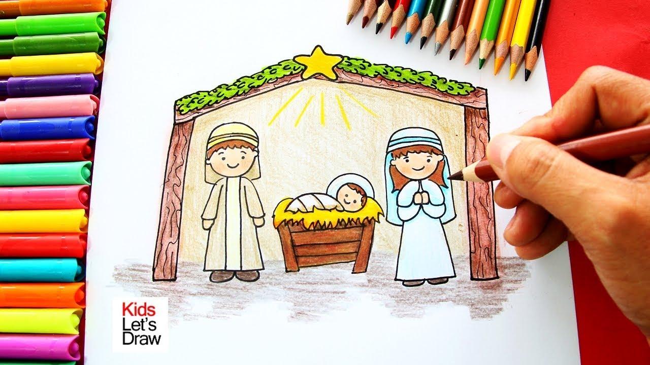 Fotos De El Pesebre De Jesus.Como Dibujar El Nacimiento De Jesus Navidad How To Draw The Birth Of Jesus