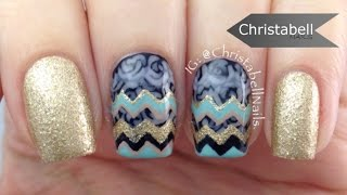 Chevron and Roses (Part 2 of Rose French Tip)