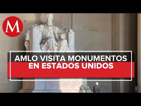 AMLO deja ofrendas en monumentos de Benito Juárez y Lincoln en EU