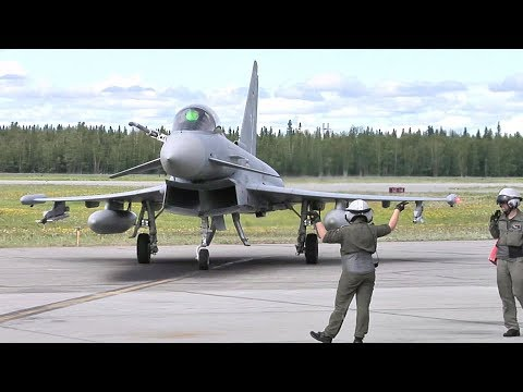 Eurofighter Typhoon and F-16 taxiing and takeoff in RED FLAG-Alaska | AiirSource