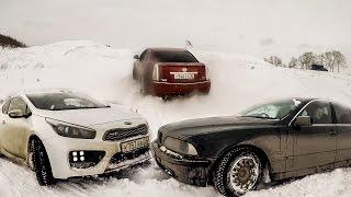 Передний, задний и полный привод в снегу! КИА, БМВ и Кадиллак(Решили покорить одну горку на автомобилях с тремя различными типами привода. Передний: KIA Pro Ceed GT. Задний:..., 2017-03-04T08:26:18.000Z)