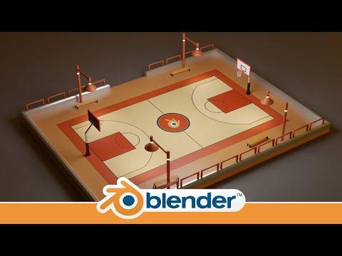 Making a Basketball Court in Blender 2.8 (Timelapse)