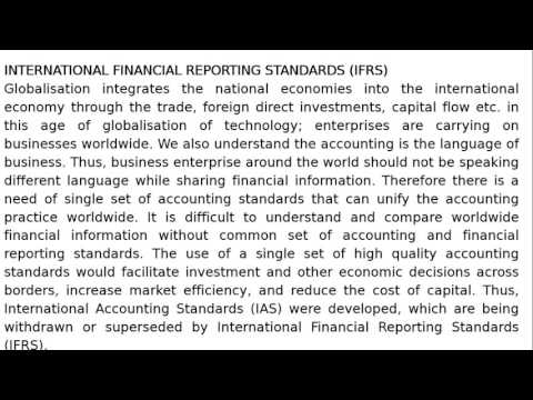 Class XI - Chapter 3 - Theory Base of Accounting -International Financial Reporting Standards (IFRS)