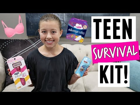 MAKING A TEEN SURVIVAL KIT WITH MY MOM! PERIOD KIT SUPPLIES, MAKEUP & MORE!