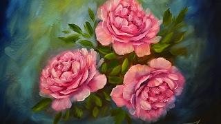 Рисуем пионы маслом. peonies flowers oil paint.