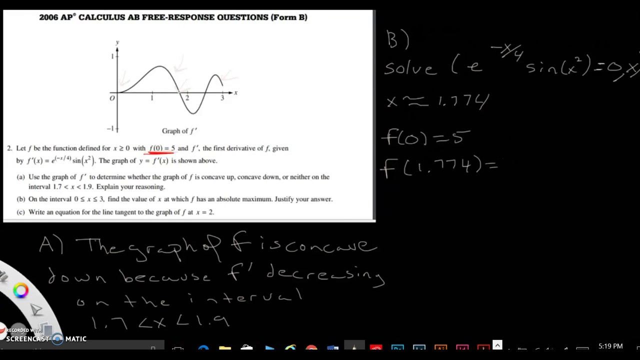 2006 FRQ Form B Question 2 - YouTube