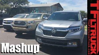 2017 Honda Ridgeline vs Toyota Tacoma vs Chevy Colorado Mashup Review