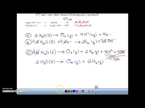 Electrolysis of water example problem (with gas production)