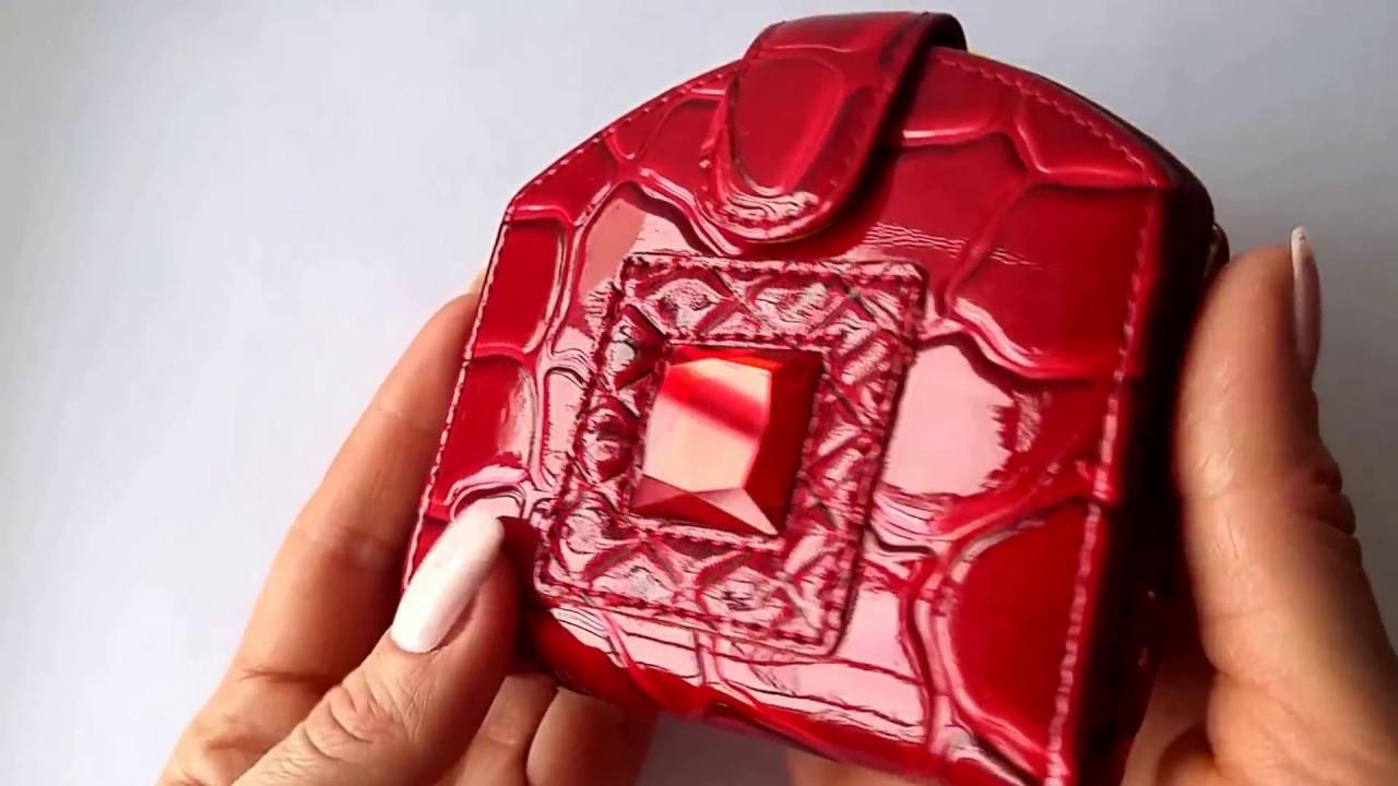 Кожаный кошелек женский красный с черным Katerina Fox - YouTube