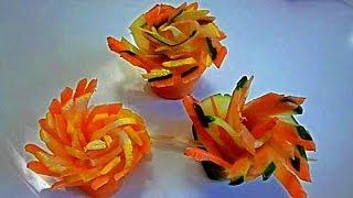 Украшения из овощей. Цветы из моркови, огурца и кабачка.  Decoration Of Vegetables