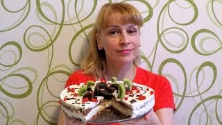 Творожный торт без выпечки с фруктами быстро просто и вкусно
