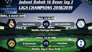 Jadwal 16 besar piala hampions 2018/2019