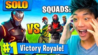 SOLO VS SQUADS!! FIZ O IMPOSSIVEL NO FORTNITE: BATTLE ROYALE