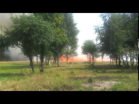 Пожар на ржаном поле в Молодечно 9 августа 2015 года