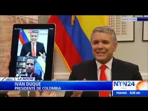 La cumbre digital entre el presidente de Colombia Iván Duque y Juan Guaidó, encargado de Venezuela
