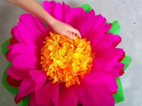 Como Hacer Flores Gigantes De Papel Crepe Manualidad Para Regalar