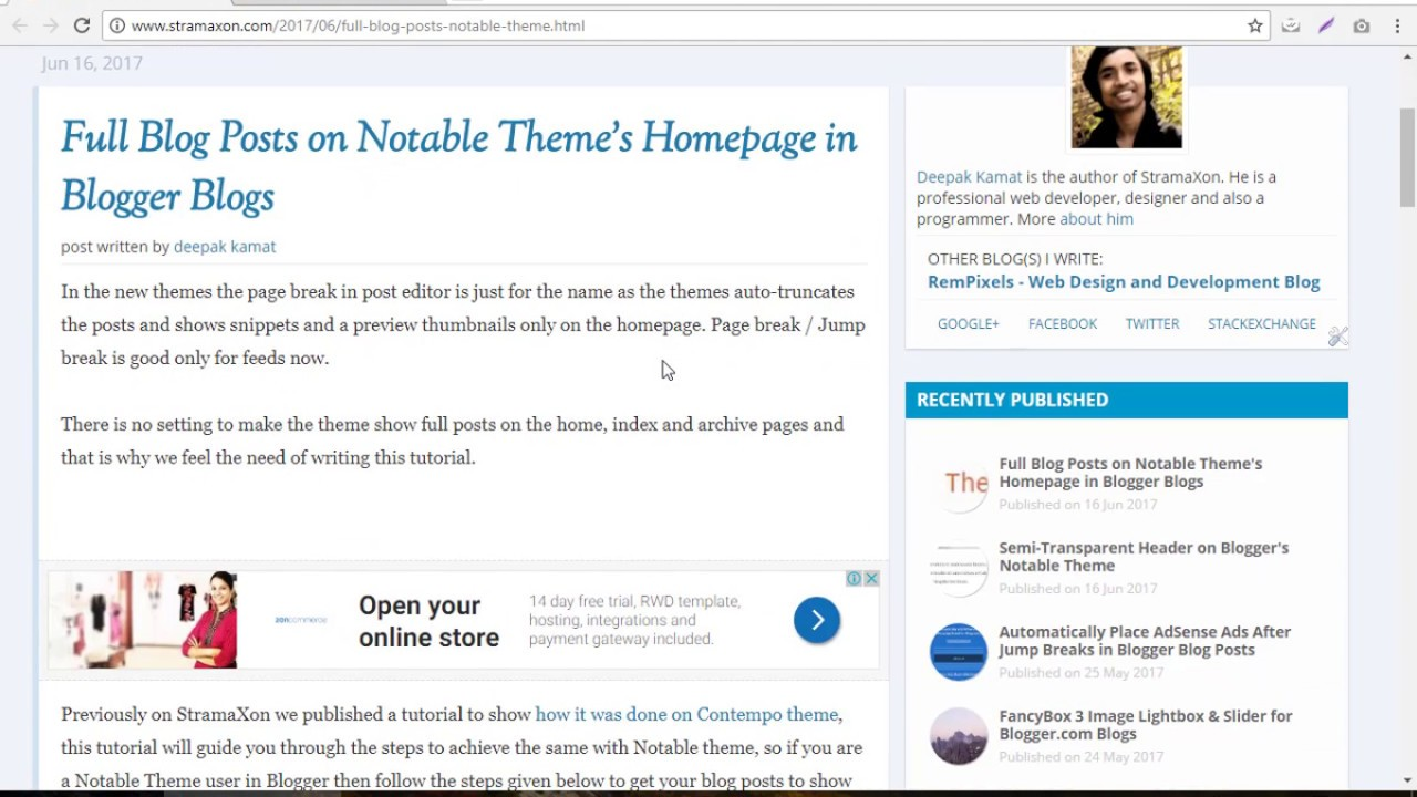 Show Full Blog Posts On Notable Theme Blogger Tutorial By