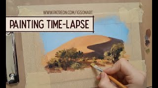 Watercolor and gouache painting time lapse - PleinAirpril #1 Namibia Desert by IgsonArt -Iga Oliwiak