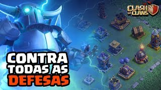 SUPER PEKKA CONTRA TODAS AS DEFESAS! CLASH OF CLANS