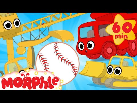 Construction vehicles play baseball! My Magic Pet Morphle Vehicle videos for kids!