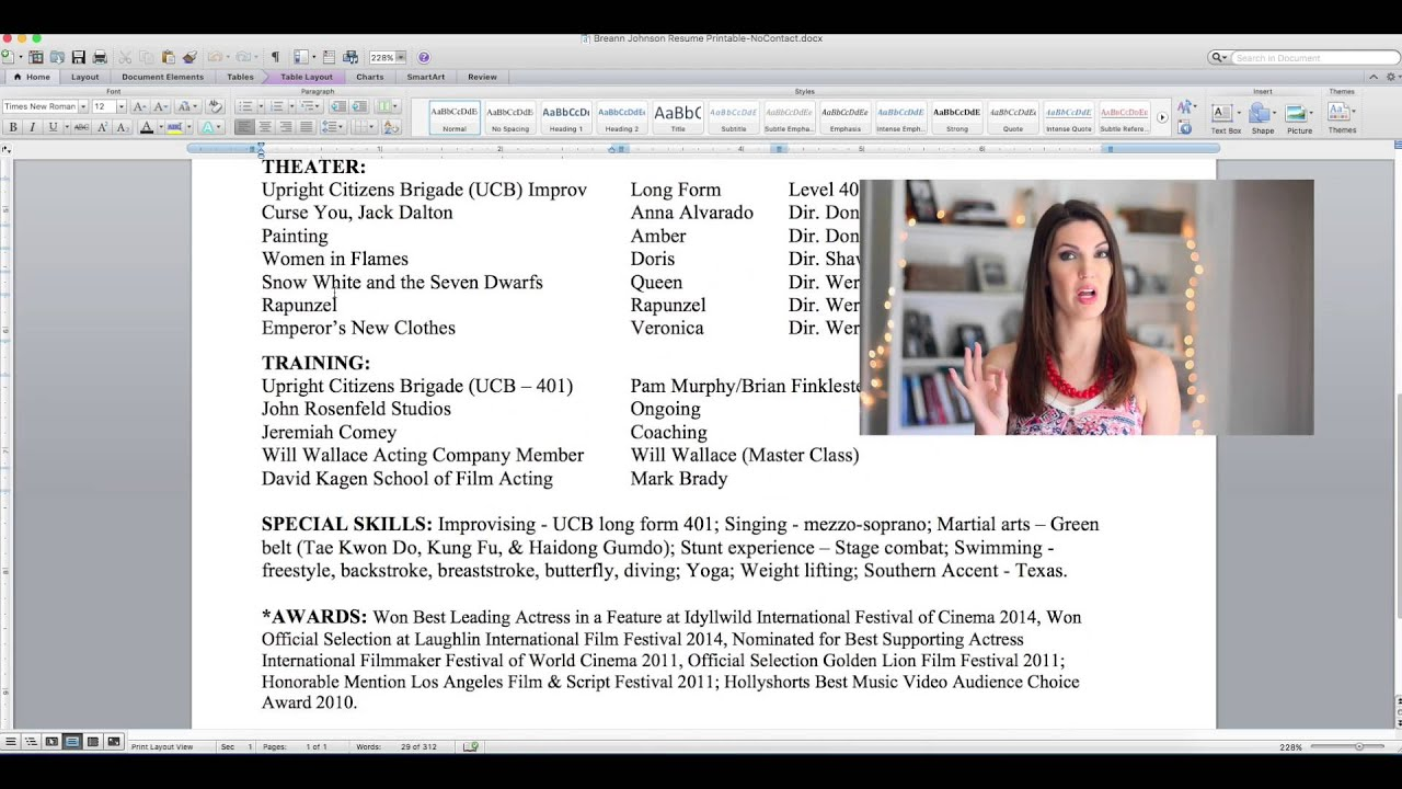 Secrets Of Acting  How To Format An Acting Resume  Youtube