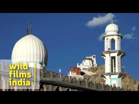 Leh palace and mosque around Leh bazaar: multi-culturalism!