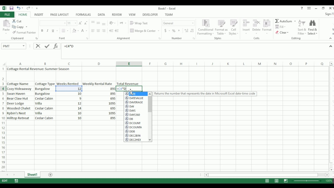 microsoft excel assignment one cottage rentals