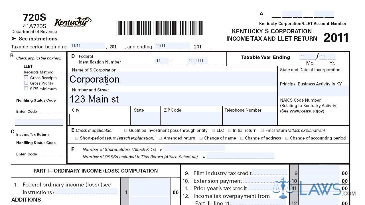 Form 720S Kentucky S Corporation Income Tax - YouTube