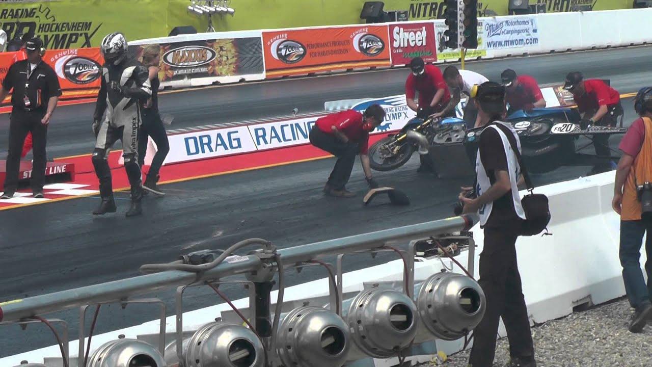 Drag Racing Nitrolympx Hockenheim 2013 Funny Bike Crash Youtube