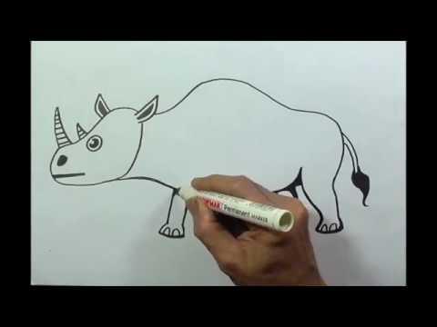 Menggambar Badak Belajar Cara Menggambar Binatang Darat Youtube