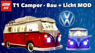 Lepin Set 21001 VW T1 Camper Bauvideo + Beleuchtungs Kit Einbau