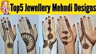 Top5 simple jewellery mehndi design for hands simple jewellery mehndi design 2020 mehandi